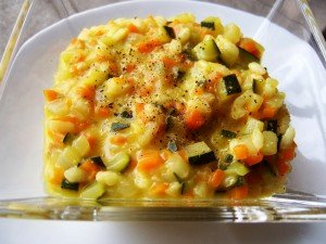 Arroz cremoso con verduras al curry